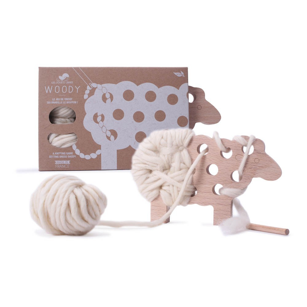 Les Jouets Libres Woody Lacing Sheep - Ecru via Smallable
