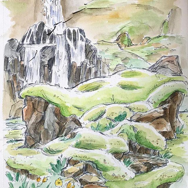 Mossy Icelandic dreamscape 💚 #lightgreyicelandresidency #lgalteamvatn #iceland #lepetittravels #lepetitelefant #genevievedraws