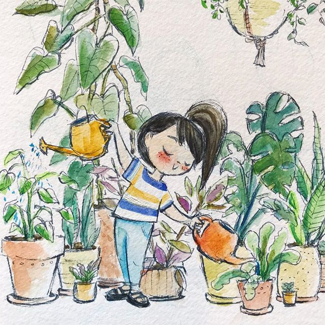 I love watering my plants. I find it so relaxing. Anyone else? Just me? 🙃 🌱  I painted this while at @holidaypdx , very much inspired by their plant-filled space.