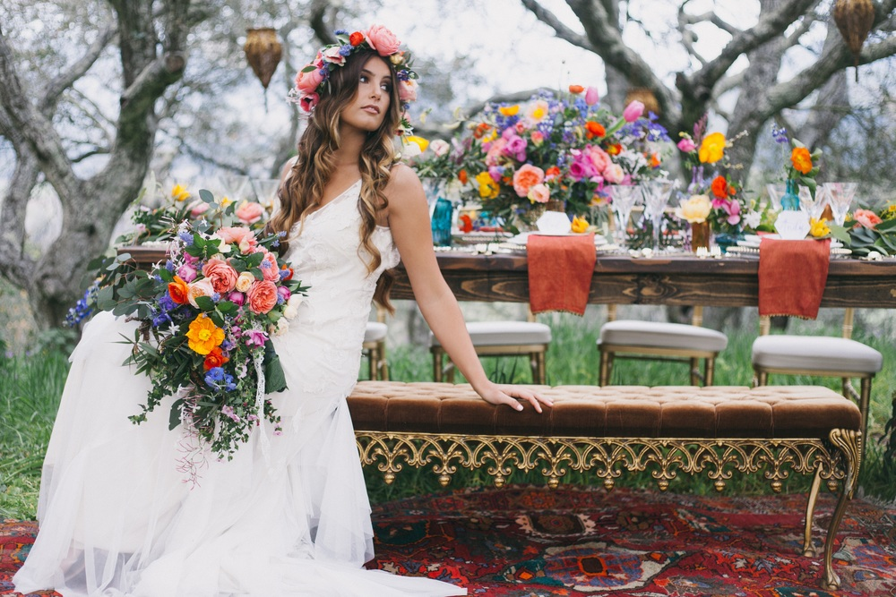 Bohemian Wedding Bouquet and Tablescape