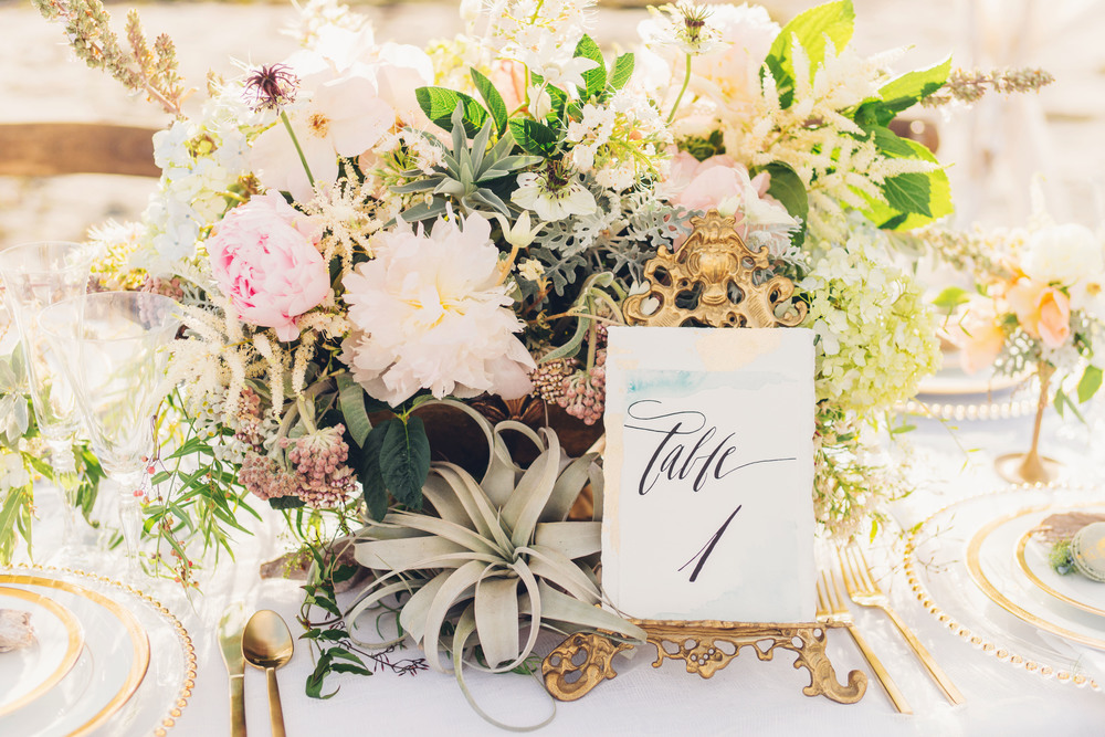Beach, Ocean inspired wedding centerpiece with Peonies