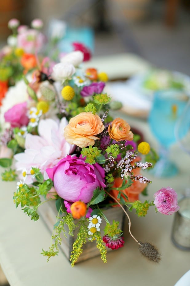 Garden Roses, Dahlias, Ranuculus Wedding Table Arrangement