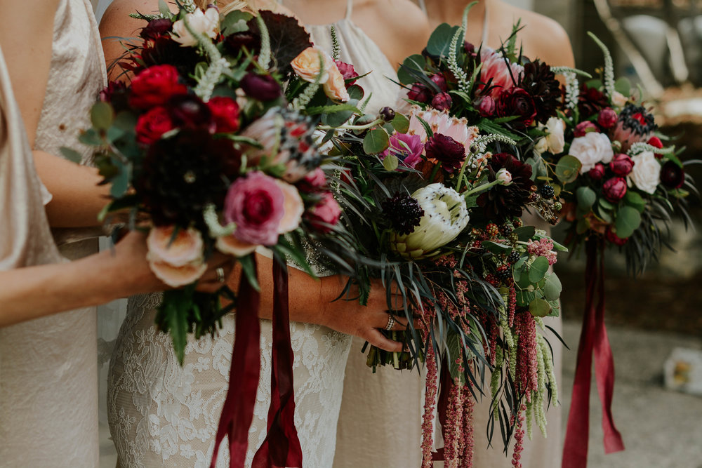 Bridesmaid Bouquets with Romantic colors