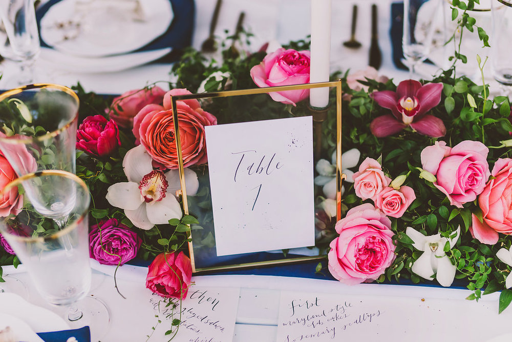 Tablescape with garden roses and orchids