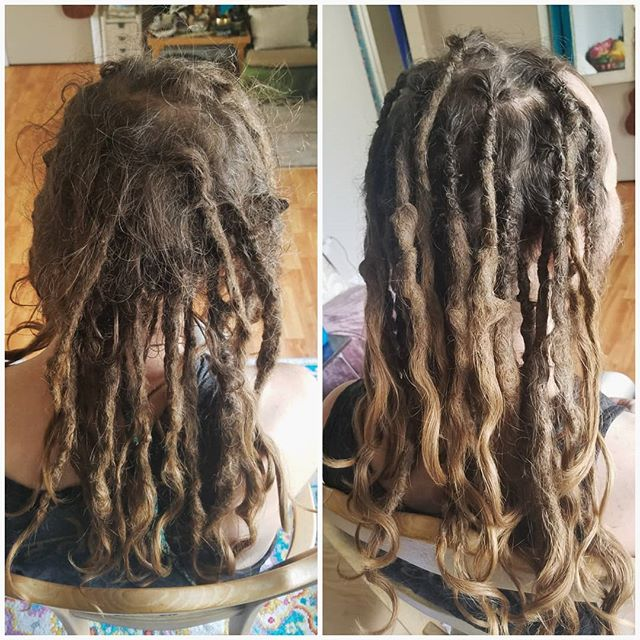 #dreadlockmaintenance ✔ Got these 33 babies maintained in about an hour today. 😎 This is their first maintenance sesh since starting them 18 months ago!  He came to me in spring 2017 with some neglected bunches of hair in the back, and we turned them into some beautiful dreadlocks. I am so surprised at how well they have matured in the 18 months since installation! I was under the impression that dreadlocks need a little more attention in their first year, especially with thinner hair... However my mind may be changed. If they are done correctly at first, they can mature nicely on their own.👌 I decided to only clean up the roots and bring the loose hair in, leaving the lower half of the dreadlocks alone to continue maturing on their own. They are just about to the point where they will turn into a solid cylindrical cork shape, and if I went in with a crochet hook I might make them more wiggly and stiff, disallowing them to naturally progress into what they are meant to become. ♡♡♡ I really enjoy tuning into each clients specific needs, and figuring out what's right for their beloved dreadlocks. ________ #dreadsbyglow #wiredandstoned  #wiredandstonedanddreaded #dreadlocks #dreads #dreadlockproducts #crochetmethod #utahdreadlocks