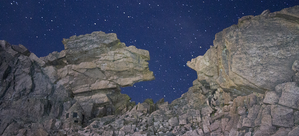 The Key Hole on Longs Peak at 3am.