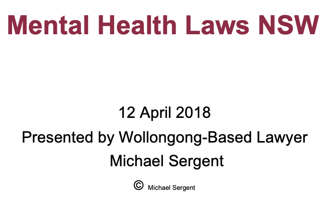 PowerPoint Presentation  - Mental Health Laws NSW