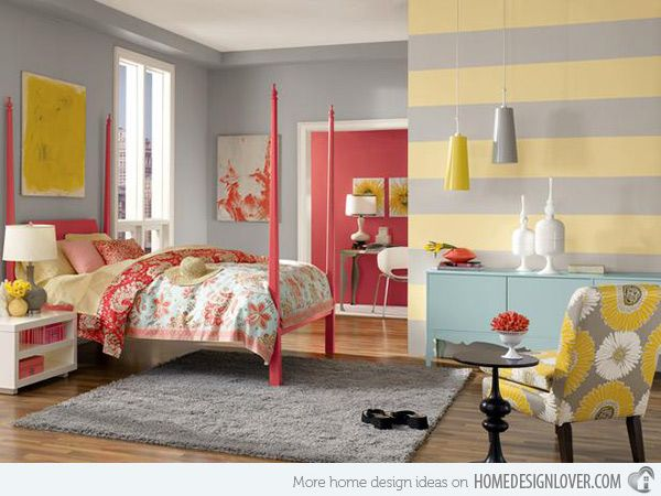 Colorful  gray and yellow  striped bedroom