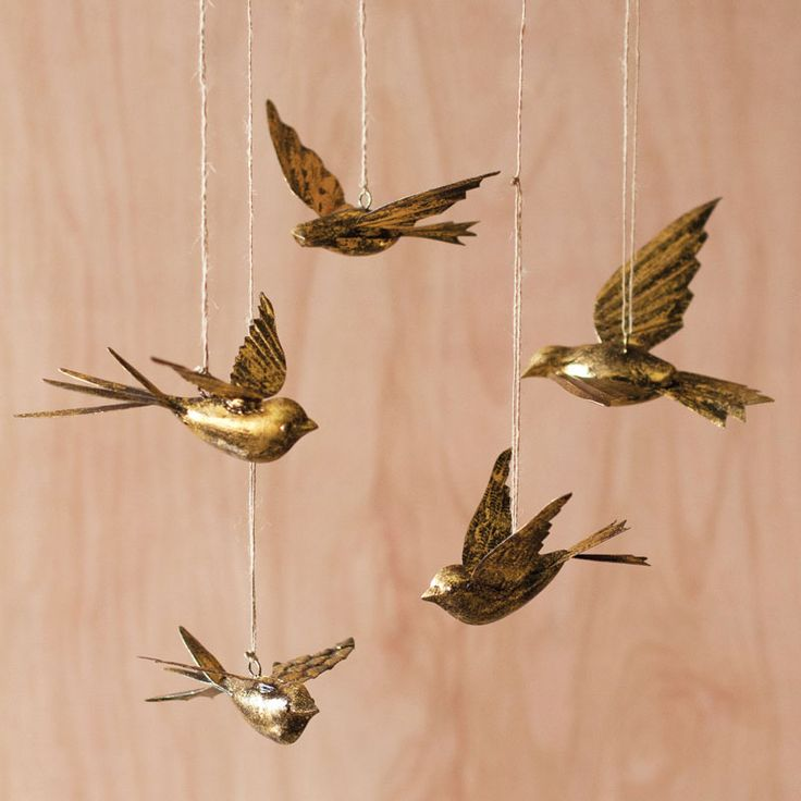 Brass Swallow Ornaments at  Dot & Bo