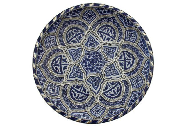 Blue & Silver Moroccan Wall Plate at  One Kings Lane