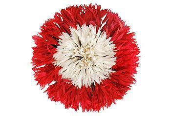 Red & White Juju Feather Headdress at  One Kings Lane