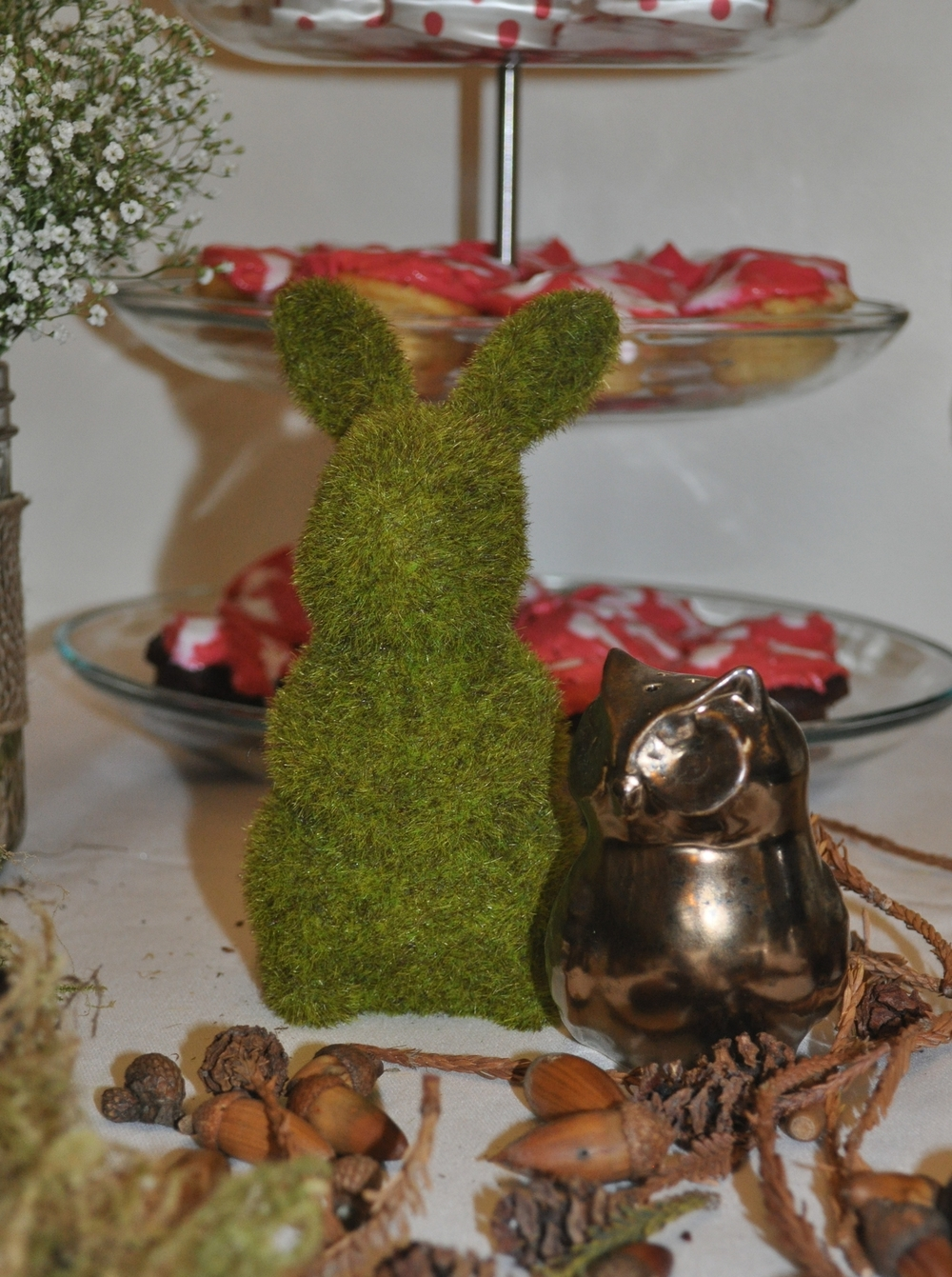 Faux  moss  rabbit  and owl pepper shaker from Target