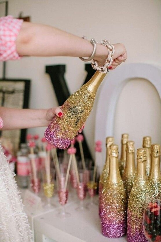 DIY Sparkly champagne bottles at  BuzzFeed