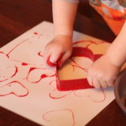 Cookie Cutter Heart Painting at  Hands on as We Grow