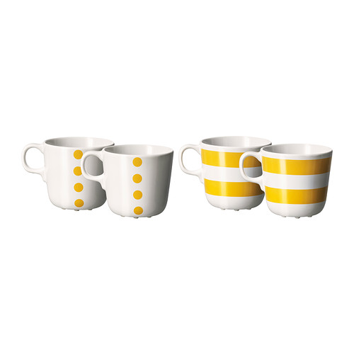 Ikea's  Ungdom  coffee cups - love the bright yellow!