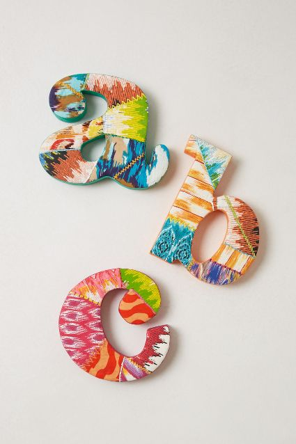 Ikat Monogram Letter  - these are the exact ones I have hanging above Toddler G and Baby M's beds