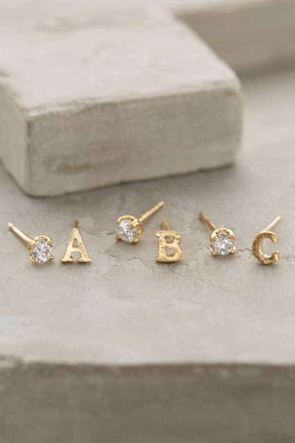 Letter & Stone Post earrings