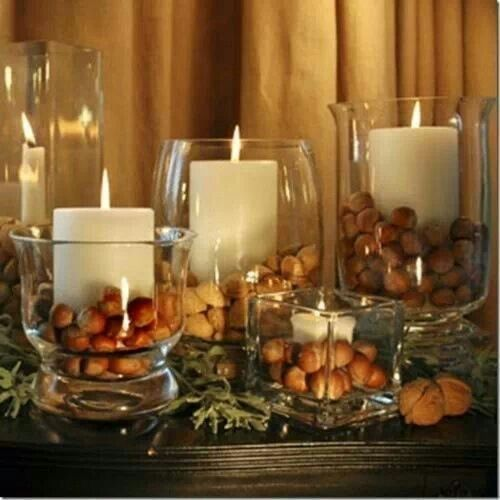 Simple and beautiful! Using nuts as decor,  Source