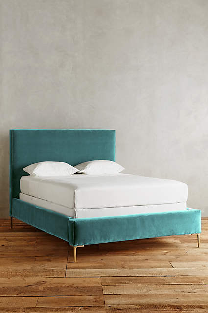Velvet Edlyn Bed  - the modern lines and brass legs are so current