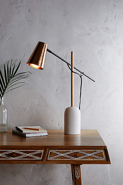 Slanted Copper Table Lamp  - copper and marble together, such a great combination