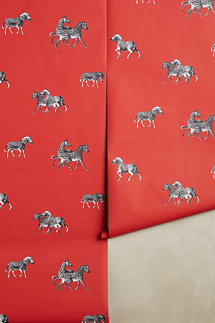 Cavorting Zebras Wallpaper  - doesn't this just make you happy? Use in a powder room for a punch of color.