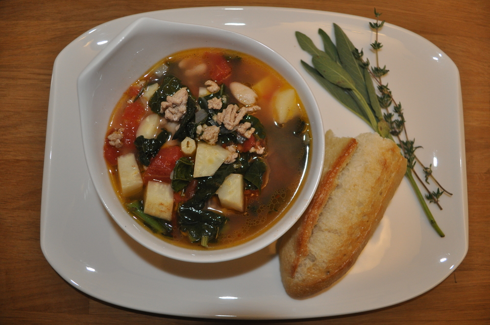 My version of the Tuscan Kale soup I found in InStyle magazine