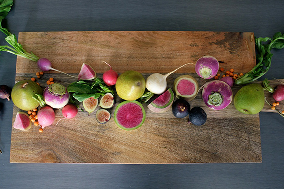 A modern cornucopia made of root vegetables via  Minted