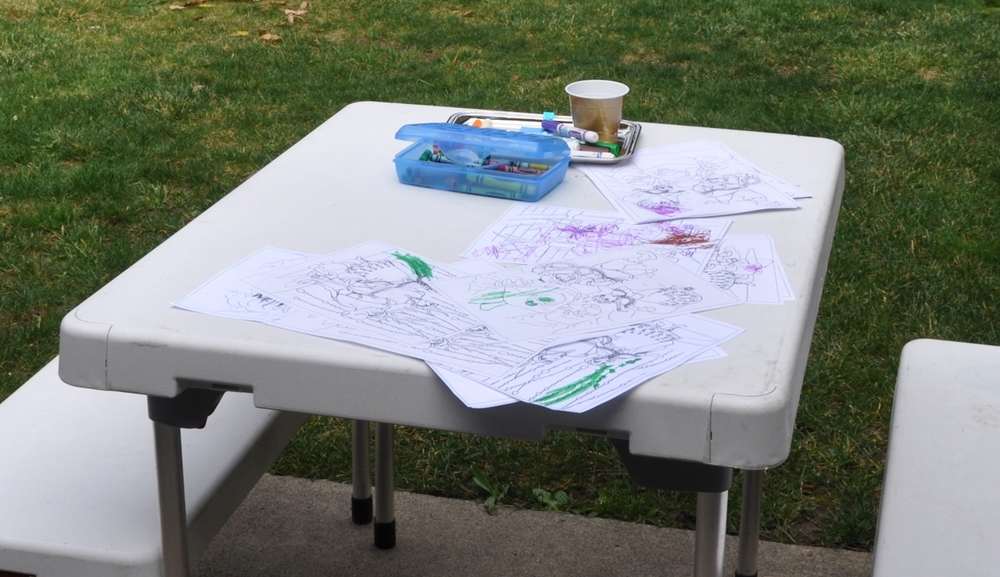 Thank goodness it was warm enough to color outside!