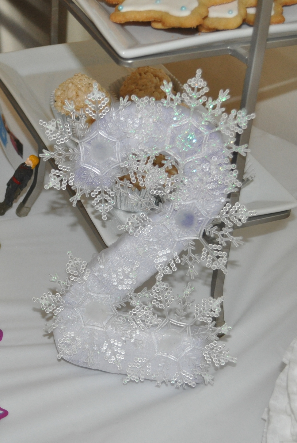 A 2 wrapped in tulle with snowflakes for M