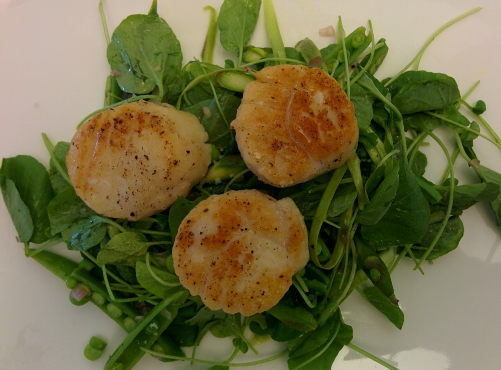 Seared Scallops with Watercress and Asparagus