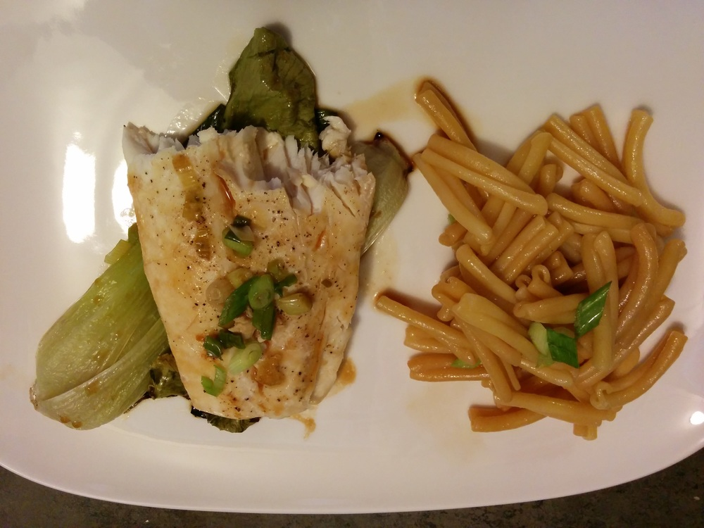 Asian-Steamed Halibut with Scallions and Bok Choy with Sesame Noodles