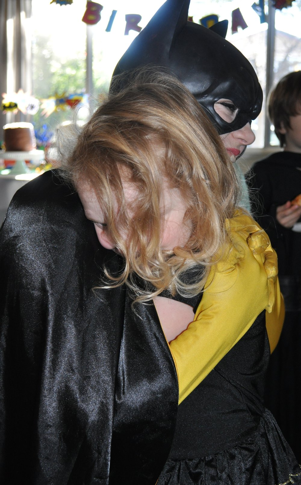 G was in awe that she got a hug from Batgirl. Darn that hair in her eyes, though.