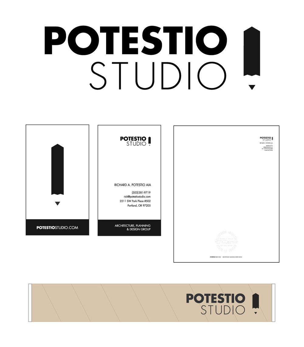 Identity and print assets for Potestio Studio Architecture