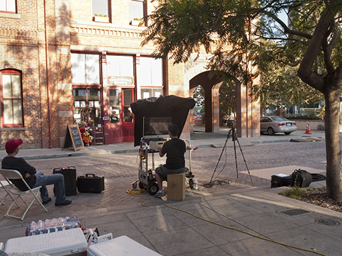 Digital tech working on set at El Pueblo