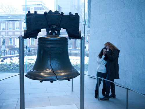 Liberty bell and crew