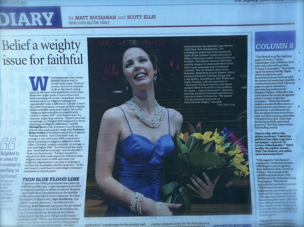 Sydney Morning Herald, after winning the 2012 Lady Fairfax New York Award, Opera Foundation Australia