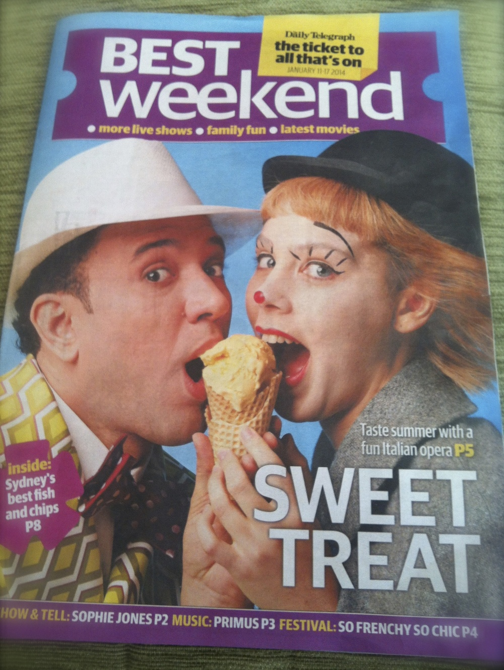 "Cover of Sydney Sunday magazine, promotion for ""Il Turco in Italia"", January 2014"