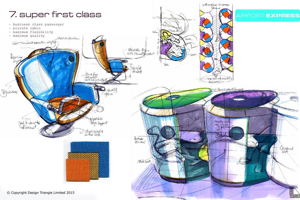 Design Triangle Airport Express Super First Class train interior design