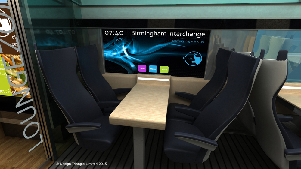 Design Triangle's interior for HS2 features SmartGlass touchscreen technology on passenger windows and exterior doors