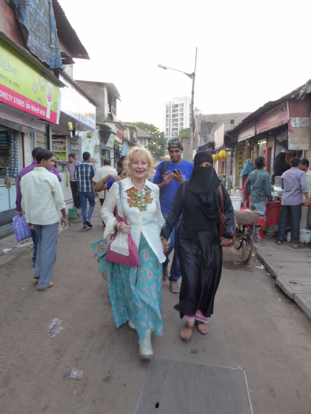 Walking to the opening with Bano, the transgender and Tehseen
