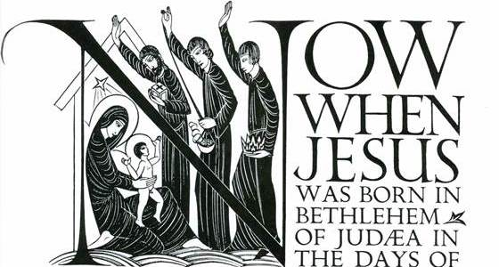 Lettering of the beginning of chapter 2,St Matthews Gospel, Eric Gill