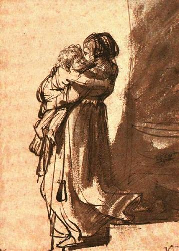 Woman carrying a child downstairs, Rembrandt, 1636