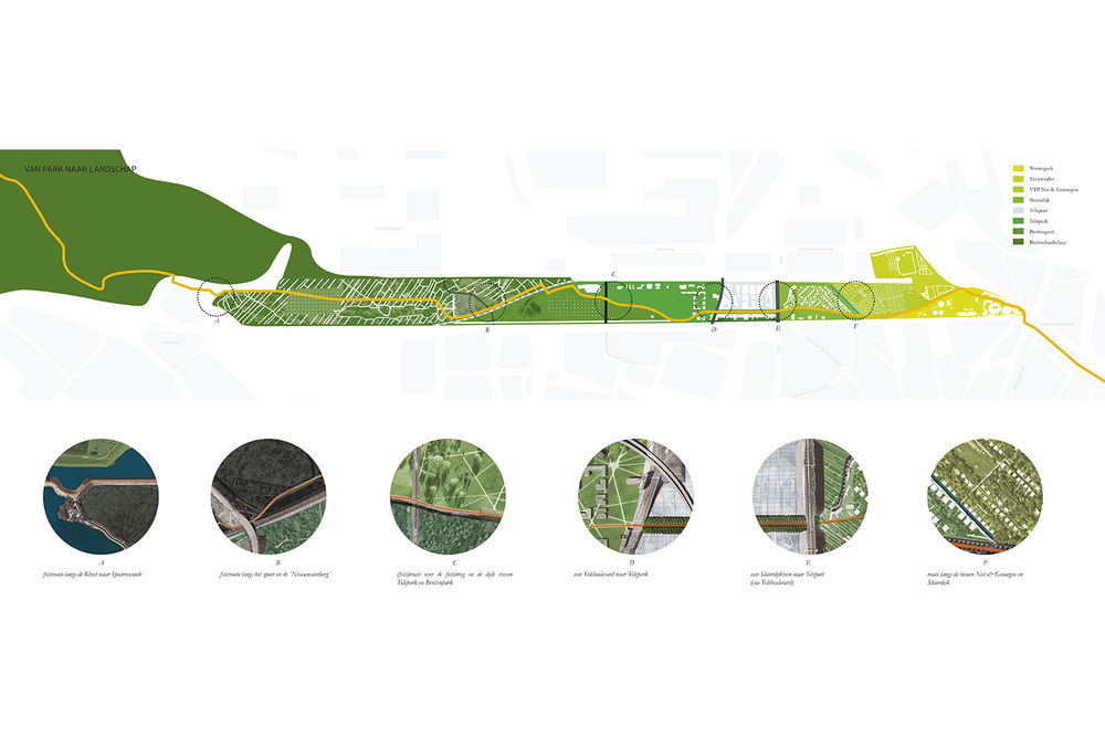 By enhancing the characteristics of the different landscape typologies of the Brettenzone a diverse collection of parks will create a fluid connection between the city of Amsterdam and the surrounding landscape.