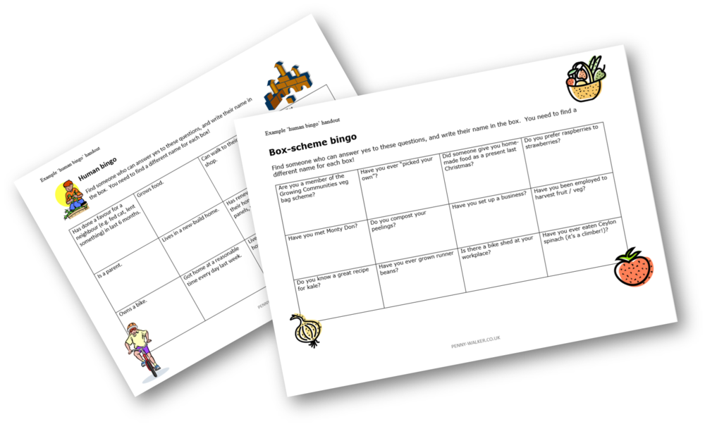 Examples of 'human bingo' handouts, tailored for specific events