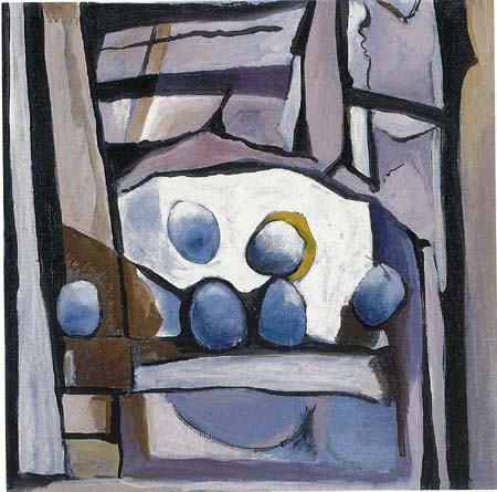 Angelo Fassina - Nature morte / Frutta azzurra 1999 (Olio su tela cm 70x70)