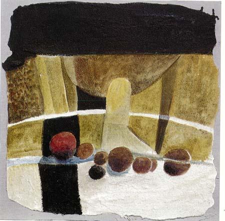 Angelo Fassina - Nature morte / La mela rossa 1998 (Intonaco e acrilico cm 50x50)