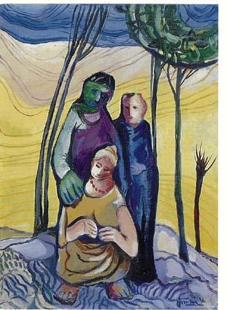 Angelo Fassina - Figure / Ritratto in campagna 1996 (Olio su tela cm 50x70)