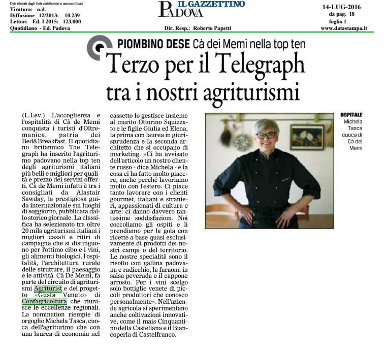 L'articolo del Gazzettino del 14 luglio 2016