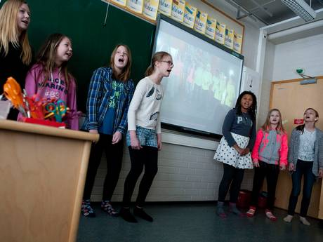 Pupils at Siltamaki primary school perform a rap as part of their cross-subject learning (Jussi Helttunen)