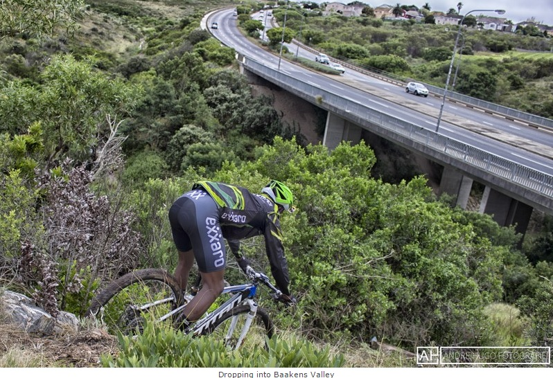 Local rider Andele Mtalana descends the XCO trail in the Baakens Valley, the venue of the opening round of the Stihl 2015 SA MTB Cup Series, taking place in Port Elizabeth on 28 February. Photo credit: Andre Hugo